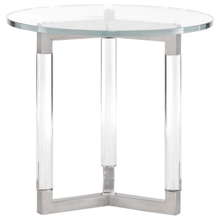 Contemporary Round End Table with Glass Top and Acrylic Legs