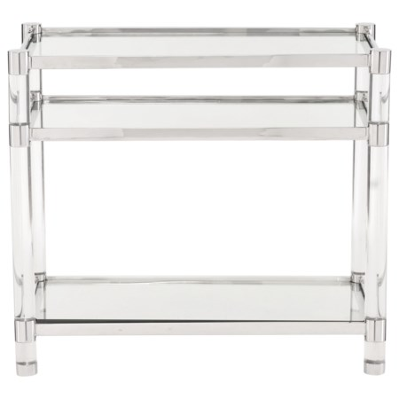 Contemporary Accent Table with Glass Shelves and Acrylic Legs