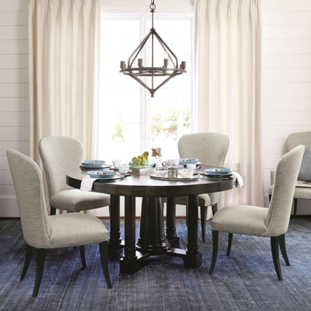5 Piece Dining Set with Round Pedestal Table