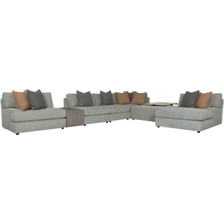 4-Seat Oversized Modular Sectional Sofa with 2 Tables