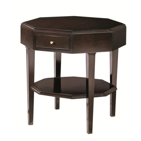 Octagon Accent Table with Drawer and Shelf