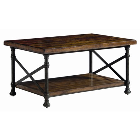 Rectangular Cocktail Table with Metal Base