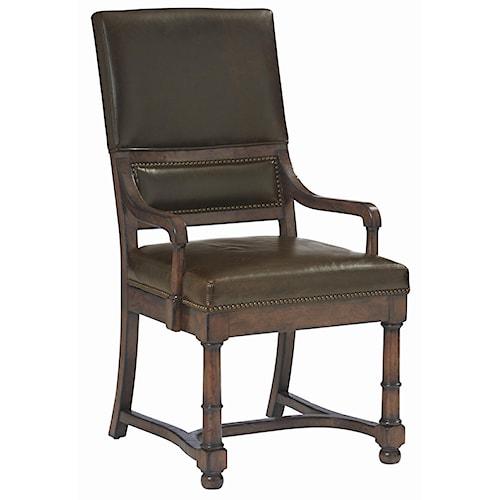Bernhardt Vintage Patina Upholstered Dining Room Arm Chair Design Interiors