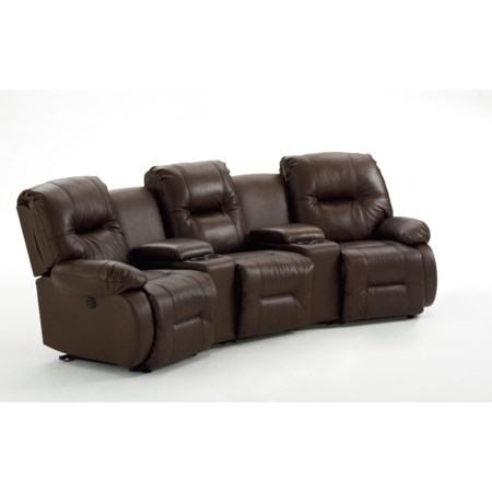 Five Piece Power Reclining Home Theater Group with Two Storage Consoles