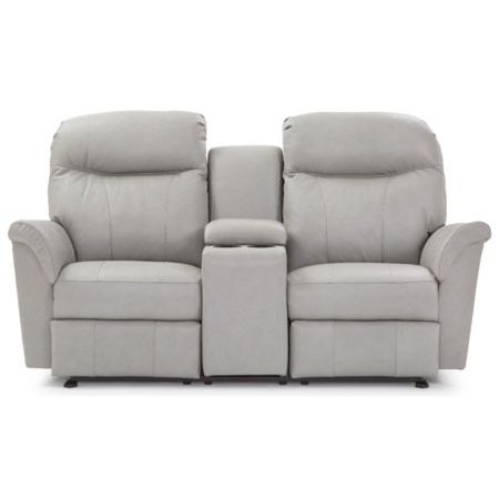 Casual Reclining Space Saver Loveseat with Cupholder Storage Console