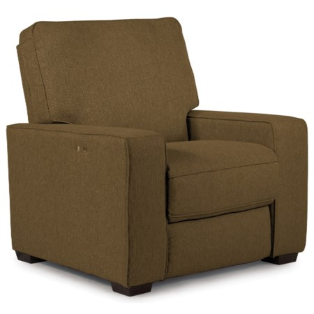 Contemporary Power Space Saver Recliner with Exposed Wood Legs