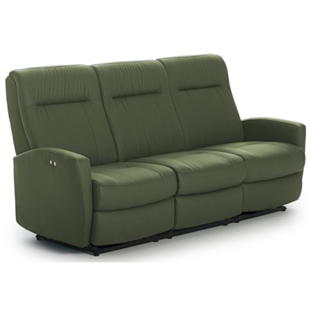 Contemporary Power Space Saver Reclining Sofa with Power Tilt Headrests and USB Charging Ports