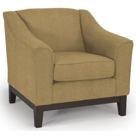 Customizable Chair with Beveled Arms and Wood Legs