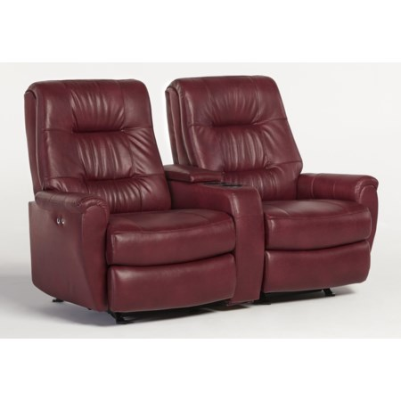 Small-Scale Reclining Space Saver Loveseat with Drink and Storage Console