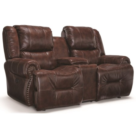 Power Space Saver Reclining Console Loveseat with Power Headrests and USB Ports