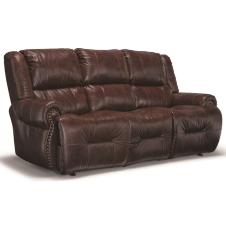 Power Space Saver Reclining Sofa with Drop Down Table and Cupholders