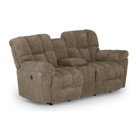 Casual Space Saver Reclining Console Loveseat