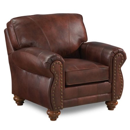 Traditional Leather Chair with Nailhead Trim