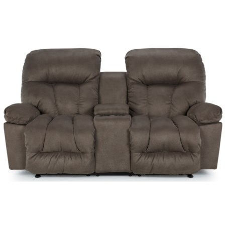 Casual Power Reclining Space Saver Loveseat with Cupholder Storage Console