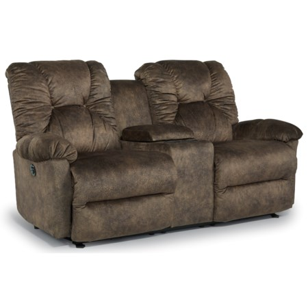 Casual Power Space Saver Reclining Loveseat with Cupholder Storage Console