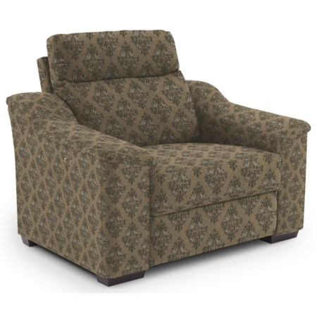 Contemporary Power Recliner with Wood Feet and Stationary Arms