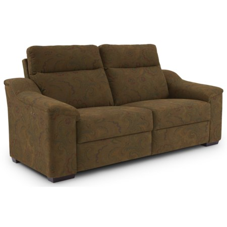 Contemporary Power Reclining Sofa with Wood Feet and Stationary Arms