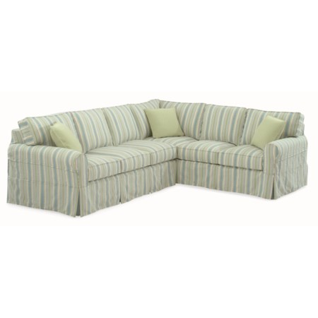 Casual Sectional Sofa with Rolled Arms and Slipcover