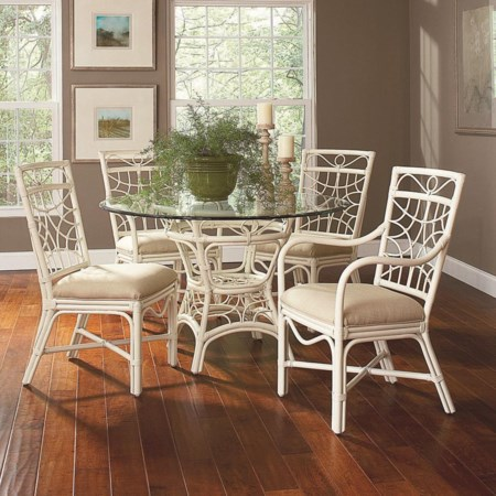 Tropical Rattan Five Piece Dining Set with Round Beveled Glass Table