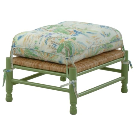 Coastal Style Vineyard Ottoman with Loose Attached Cushion
