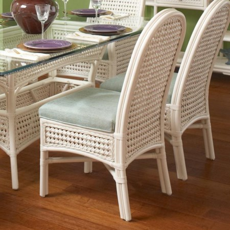 Tropical Wicker Side Chair with Upholstered Seat