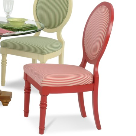 Tropical Oval Backed Side Chair with Rattan Detailing