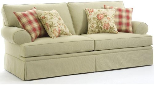 Callie casual style sofa with rolled arms and skirt for Furniture 0 percent financing