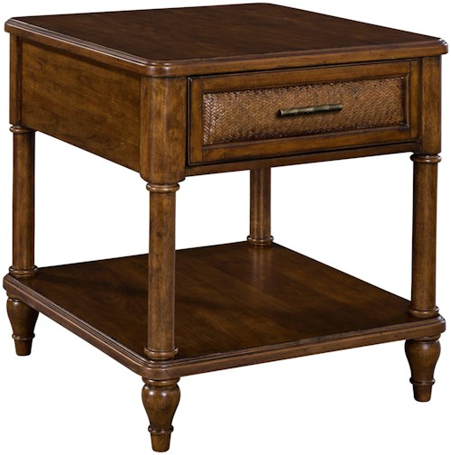 Broyhill Furniture Amalie Bay 1 Drawer End Table With Padded Raffia Accents Wayside Furniture