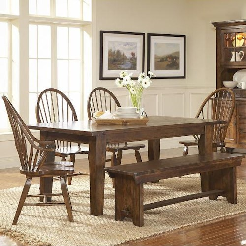 Broyhill furniture attic rustic 7 piece dining set turk for Table 85 ottawa