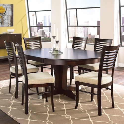 Canadel custom dining customizable round table with leaf for Dining sets nashville tn
