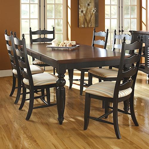 Canadel custom dining customizable rectangular table set for Dining sets nashville tn