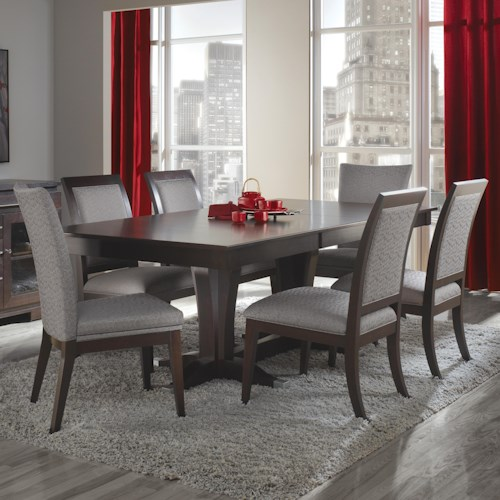 Canadel custom dining customizable rectangular table with for Dining sets nashville tn