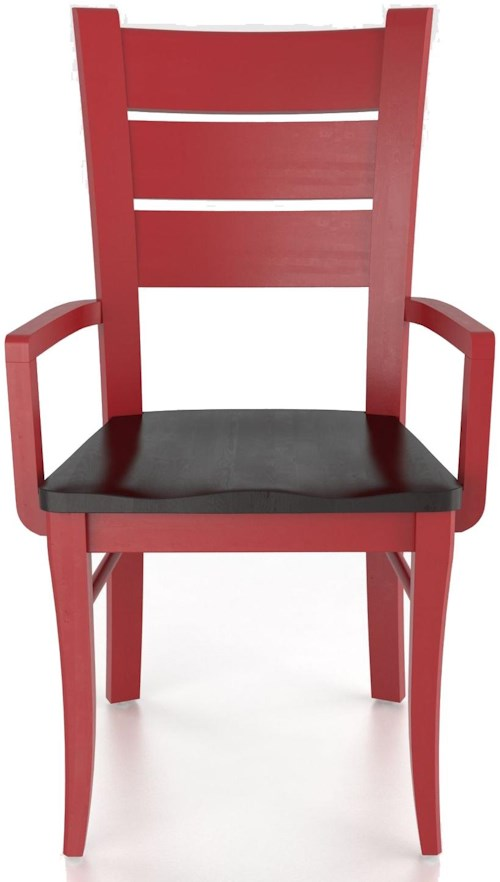 Canadel custom dining customizable arm chair wood seat for Furniture 0 percent financing