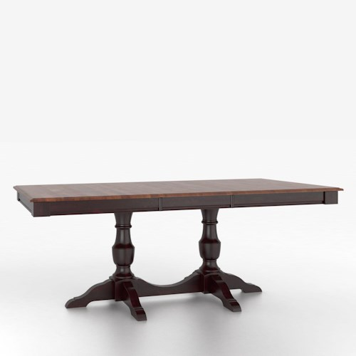 Canadel custom dining tables customizable rectangular for Rectangular pedestal dining table