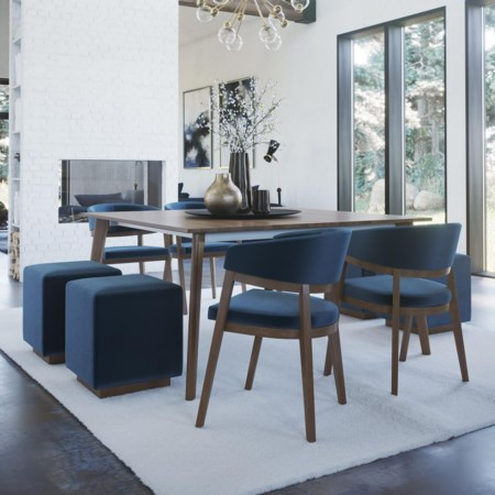 Customizable Dining Set with Cube Upholstered Benches