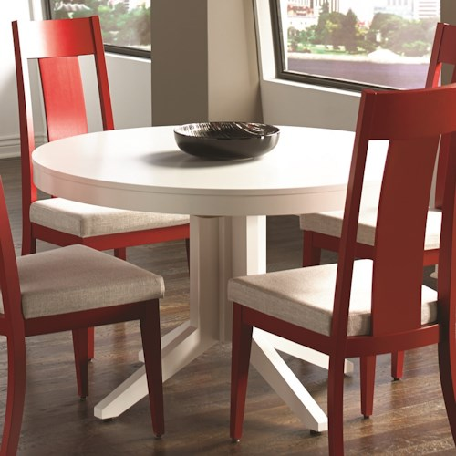 Canadel custom dining customizable contemporary round for Unique round dining room tables