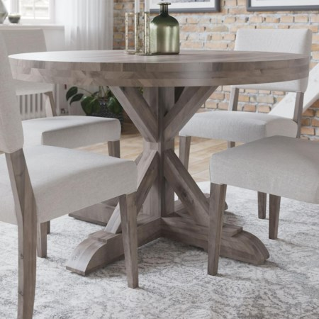 Customizable Round Table with Trestle Base