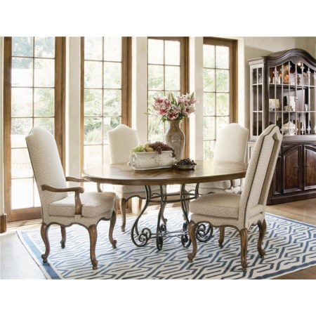Oval Table and High Back Arm and Side Chair