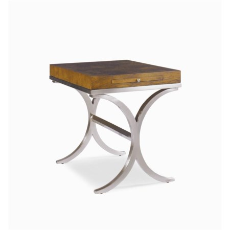 Lamp Table with Metal Base