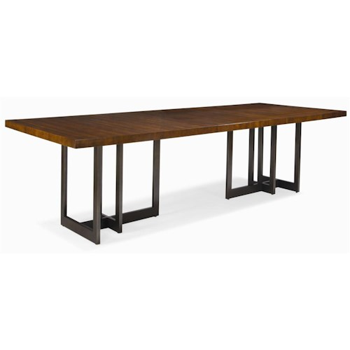 Century milan satin walnut dining table with metal base for Dining table nashville tn