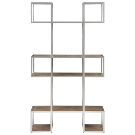 Contemporary 6-Shelf Open Bookcase with Champagne Gold Coated Silver Iron Frame