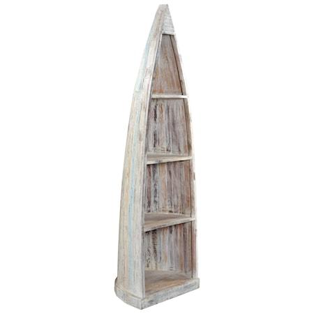 Nautical Canoe-Shaped Bookcase