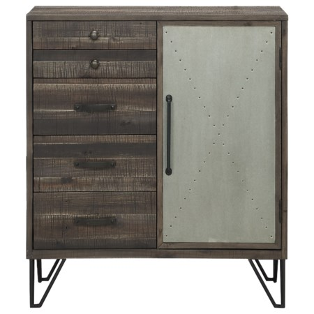 Industrial One Door Five Drawer Cabinet