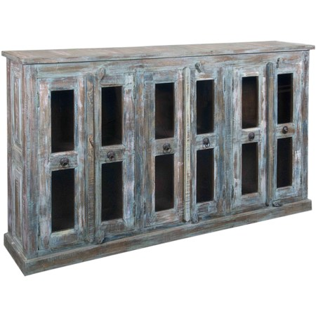 Weathered Multicolor Credenza with Six Wood-Framed Glass Doors & Three Shelves
