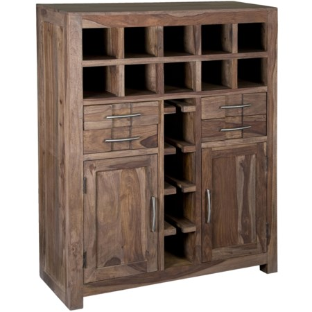 Two-Door Four Drawer Wine Bar with Stemware Racks & Bottle Cubbyholes
