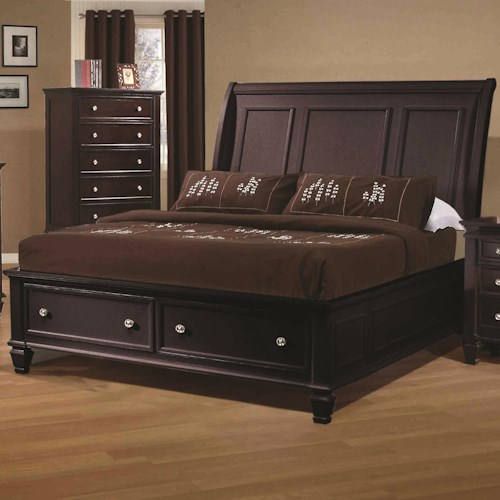 Coaster Sandy Beach King Sleigh Bed With Footboard Storage Rife 39 S Home Furniture Sleigh Beds