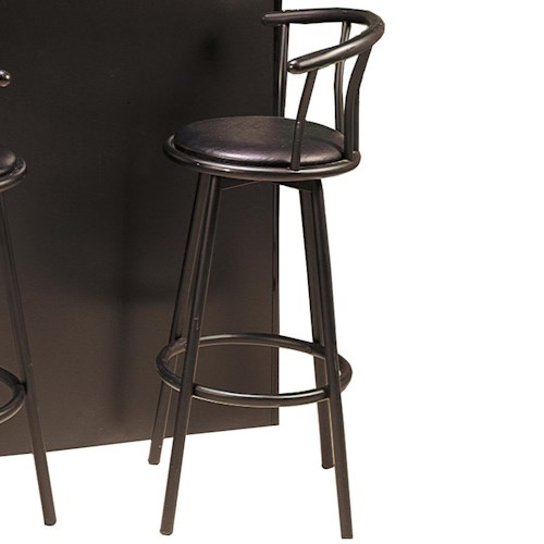 Coaster Buckner 29 Casual Metal Bar Stool With Faux Leather Swivel Seat Value City Furniture