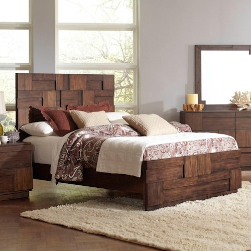 Coaster Gallagher Queen Bed With Geometric Layered Wood Patterns Rife 39 S Home Furniture Panel