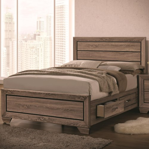 Coaster kauffman queen bed with panel design and storage for Height of platform bed