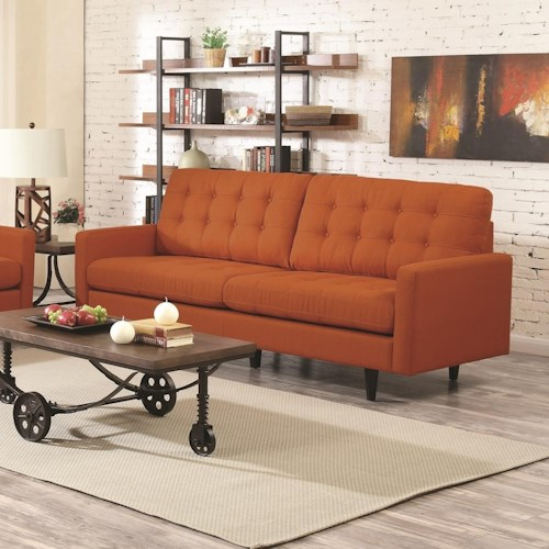 Coaster kesson mid century modern sofa value city for Modern living room furniture nj